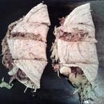 お好み焼だるま - 左:豚玉、右:イカ玉+エビ