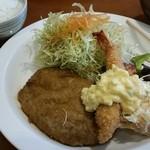 お多福食堂 - 照り焼きハンバーグと海老フライ