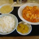 3498409 - 「定食2」エビ・玉子・イカのチリソース