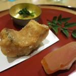 34993762 - グジの竜田揚げ 花山葵 新カラスミ餅