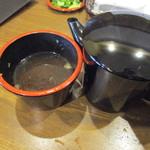誠月庵 - 最後は蕎麦湯をいただいてお腹を癒します、蕎麦湯はさらさらタイプの蕎麦湯でした。