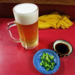 ひろ坊 - 生ビール(中・570円)とお通し