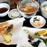 春日野 - 刺身と野菜天ランチ・冷おろし