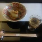 35019129 - 前菜(淀大根ふくまぜ、昆布豆、柚子)と梅酒。