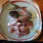 保田食堂 萬壽山 - あじ刺身定食(1300円)