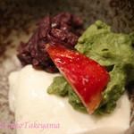 紫長 - デザート。みねおか豆腐、時価成案と抹茶カスタード