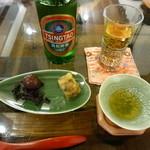 35043403 - 青島ビール、数の子の煮凝り、ウズラの卵の烏龍茶煮