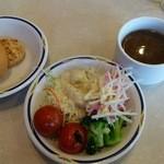35045192 - パン、サラダ1回目、オニオンスープ