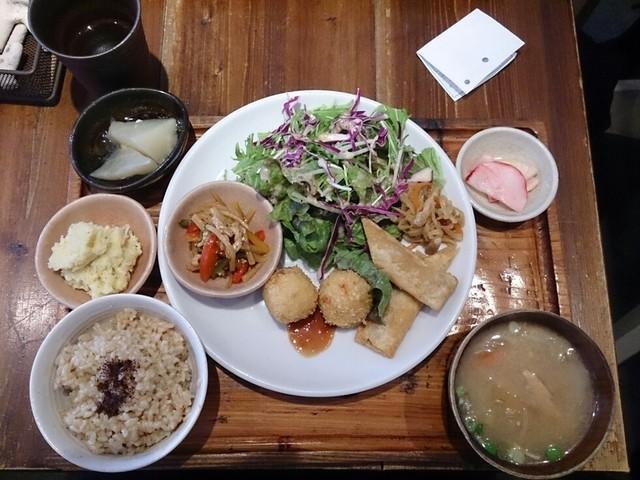 やさいとお酒  ひだまりカフェ - ひるの定食(メイン:春巻とコロッケ、惣菜3品)