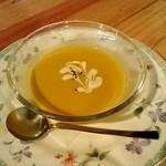 35068680 - 20140914訪問。セレクトセットサラダハーフサイズ 季節の有機野菜スープ。この日は冷製のかぼちゃのスープ。