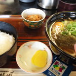 蜂郷 - 日替わり定食(スタミナうどん 卵入り)