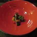 35084340 - 目鯛のポワレ                        菜の花の煮浸しとスモークしたセミドライトマト                        フランボワーズヴィネガーをアクセントに