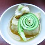匠の宿 佳松 - 先付 胡麻豆腐 甘鯛 コゴミ 山葵亀甲餡