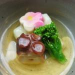 匠の宿 佳松 - 強肴 長芋のオランダ煮 蛸 巻き湯葉 梅麩 菜の花 みたらし餡