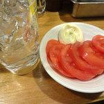 串かつでんがな - 冷やしトマトとレモンサワーです。
