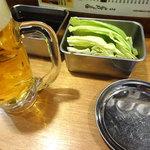 串かつでんがな - 生ビールとお通しです。