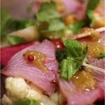lumielune - 天然ブリの刺身と季節野菜、フルーツのサラダ、レモンコンフィ