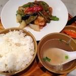 シンガポール海南鶏飯 - 2015/1/31 長豆と海老のサンバルブラチャ炒め定食