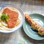 讃岐製麺所 - うどん細めのかけ+お揚げとちくわ天