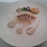 35108861 - 真鯛の香草マリネ オレンジ風味 牛蒡のピューレソースで