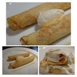 かずちゃん - 雲丹とクリームチーズクレープつつみ(980円)・・添えられたクリームチーズペーストと同じ品が中にも入っています。 クリームチーズの量が多いので「雲丹」のお味は殆ど感じません。