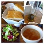 35140982 - 共通・・どちらのお料理にも、スープ・パン・サラダ・ドリンクが付きます。                       スープはコンソメ味ですが、濃厚で美味しい。中にはキャベツ・小麦などが入っています。                       フォッカチャは温めて出されるといいですね。