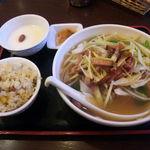 避風塘 - 香港ネギ叉焼麺セット(880円)