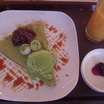 コイケヤ - カフェのクレープ、ドリンク、豆乳プリンのお得なセット。