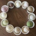 純喫茶PEARL - アイスクリーム250円~塩キャラメル、フランボワーズ、大粒いちご、マダカスカルバニラ、ほうじ茶など・・・12種類のアイスをご用意しております。