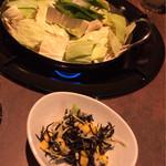 35172041 - もつ鍋&ひじきのサラダ