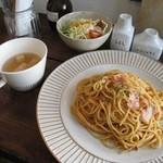 ゼルコーバ - ベーコンとトマトのアーリオオーリオパスタ