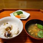 千松しま - 栗ごはん、なめこ汁、香の物(2012/11)