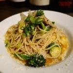 セブンストック - 神戸ポークのミンチとごぼうのオイルソースのスパゲティ(大葉とパルミジャーノ風味)
