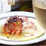 真ダコとホタテのバルサミコマリネ/マグロのゆずこしょうカルパッチョ