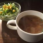 エル バレンシアーノ - 201502 ランチのスープとサラダ