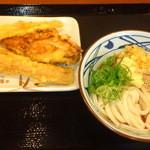 丸亀製麺 - ぶっかけ(並)¥280、イカ天¥120、かしわ天¥110、ちくわ天¥110