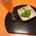 35232275 - 或る日の唐揚げランチ(ノンアルビール&枝豆)