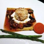 レゼールデカー - 料理写真:真鱈の白子のポワレ、カリフラワーのピュレ、マデラ酒のソース