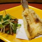 千松しま - ハゼの天麩羅、牡蠣の燻製(2015/01)
