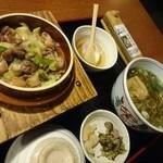 そばうどん 山びこ - 釜めし定食(鴨釜飯、蕎麦)