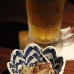 福の花 - お通し、生ビール
