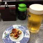 回し鮨若貴 - ビールとコリコリした何か?貝・130円
