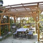 真壁ちなー - 庭にもテーブルがあります