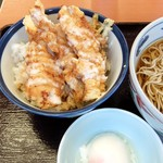 天丼てんや - わさびマヨ鶏天丼+そばセット