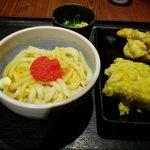 讃岐うどん大使 東京麺通団 - めんたま小+かしわ天+高野豆腐天 660円