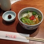 天ぷら 左膳 - セットのサラダと蕎麦味噌