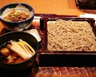 驀仙坊 - 鴨汁せいろ(1450円)と煮穴子ごはん(550円)