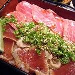 35320933 - 松阪牛レアステーキ&まぐろ炙り