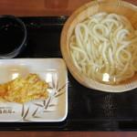 丸亀製麺 - 釜揚げうどん(並) 280円、かしわ天 120円