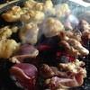 炭仙人 - 料理写真:鶏肉やホルモンを炭火で炙る